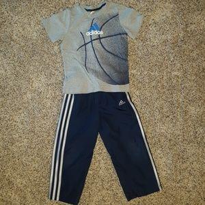 Adidas wind pants and basketball tee set
